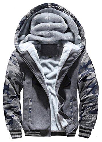 Hanxue Men's Winter Warm Full Zip Eco Sherpa Fleece Hoodie Jackets (XL, Black 01)