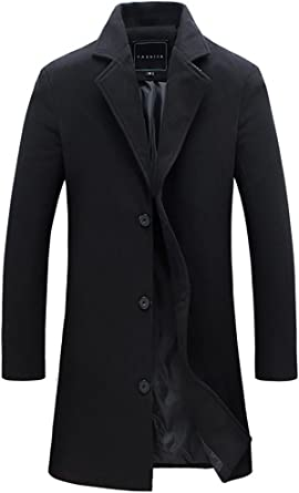 QZUnique Mens Fashion Simple Slim Fit Lapel Collar Casual Wool Coat