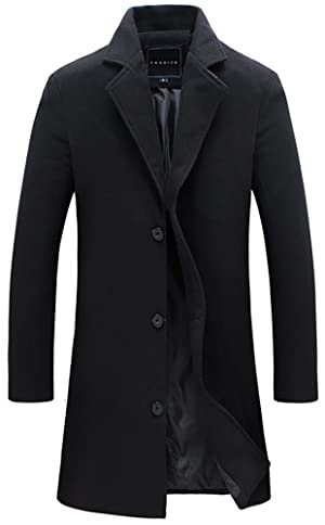 QZUnique Men's Fashion Simple Slim Fit Lapel Collar Casual Wool Coat US S