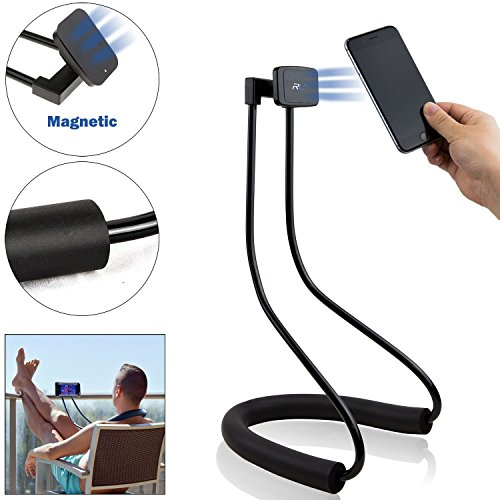 Lazy Neck Phone Holder - Flexible Gooseneck Cell Phone & Tablet Bracket with Magnets/Magnetic Mount - for Table & Bed Use - Universal Stand for Mobile Device - Samsung Iphone Ipad Fire Kindle