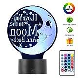 3D Moon Night Light Lamp Optical Desk Home Decor Gift for Valentine's 7 colors Energy Saving