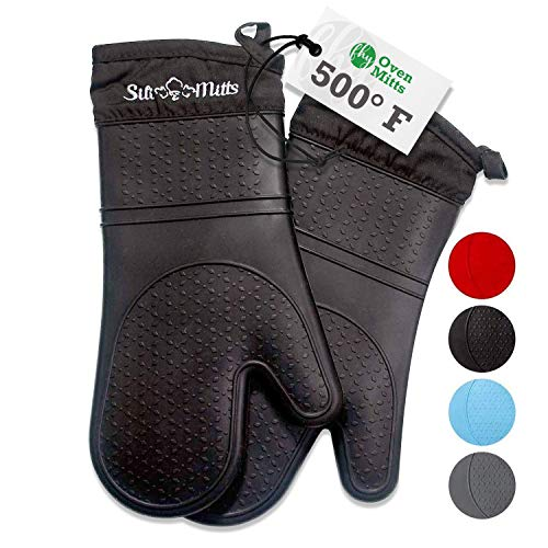 Oven Mitts Heat Resistant 500 Degrees - 2 Extra Long Silicone Oven Mitt Pot Holders - Food Safe Oven Gloves - BPA Free and FDA Approved - Soft Inner Lining - Black