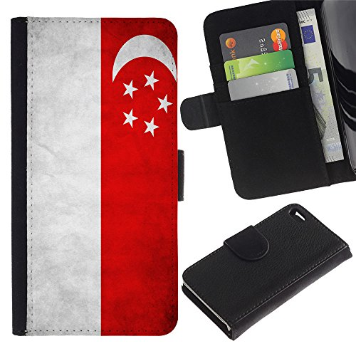 EuroCase - Apple Iphone 4 / 4S - Singapore Grunge Flag - Cuir PU Coverture Shell Armure Coque Coq Cas Etui Housse Case Cover