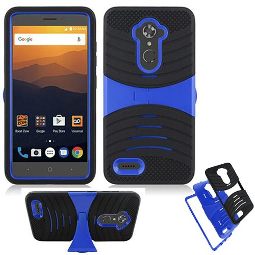 Phone Case for Straight Talk ZTE Max-Blue / ZTE Blade-Max-3 / ZTE Max-XL Boost ZTE Bolton 4g LTE N9560 Rugged Heavy Duty Armor Cover (Armor Black Skin-Blue Stand)