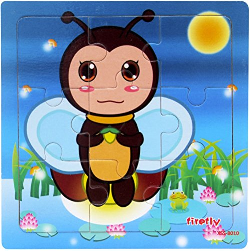 Layhome 9 Pieces Wooden Puzzle Kids Baby Learning Toy Insect Birds World (firefly) -