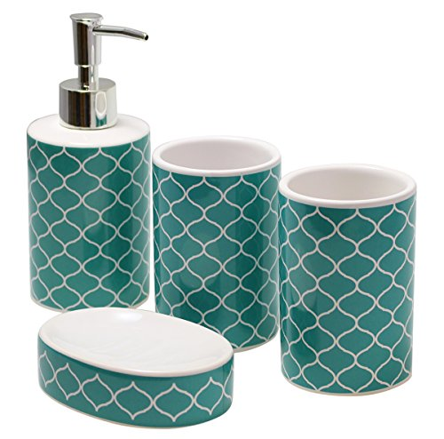 Justnile modern 4 piece ceramic bathroom accessory set for Blue and white striped bathroom accessories