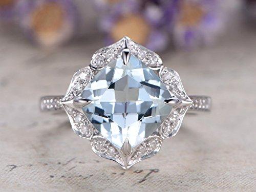 Natural 7mm Cushion Cut VS Light Blue Aquamarine Gemstone Diamonds Flower Floral Halo Vintage Antique Retro Design Solid 14k White Gold Bridal Anniversary Claw Prong Propose Ring -