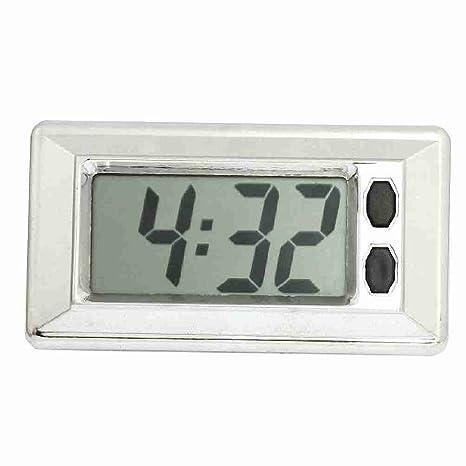 Reloj digital para salpicadero de coche, pantalla LCD, color plateado y negro