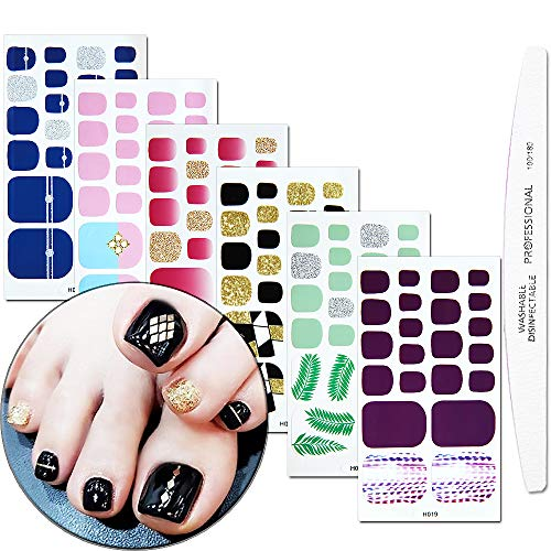 WOKOTO 6 Piece Adhesive Toenail Polish Stickers With for sale  Delivered anywhere in USA