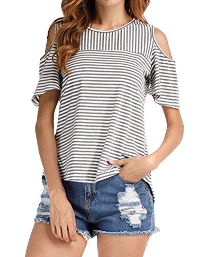 ZXZY Women Round Neck Cold Shoulder Short Sleeve Back Split Shirt Striped Tops Striped Split Neck Top