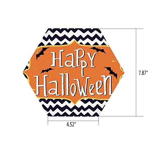 iPrint Hexagon Wall Sticker,Mural Decal,Halloween,Cute Halloween Greeting Card Inspired Design Celebration Doodle Chevron Decorative,Indigo White Orange,for Home Decor 4.52x7.87 10 Pcs/Set ()