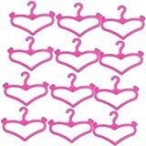 12 Pezzi Di Forma Bambola Barbie Appendiabiti Accessori Cuore 2 3/8 Di Pollice Rosa