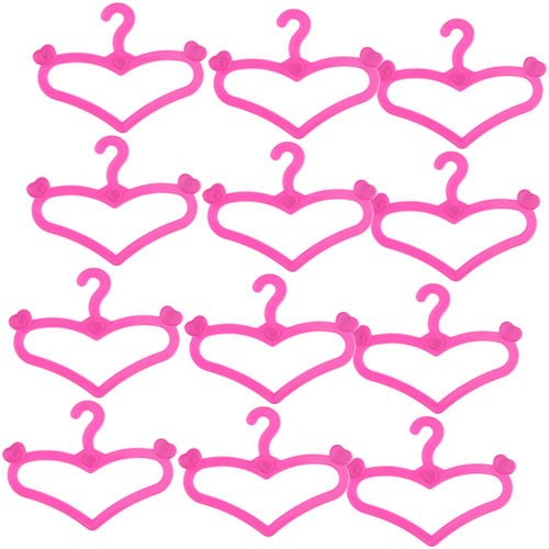 Dovewill Heart Shaped Pink Hangers 2.36 Inch for Barbie Dolls Gown Dress Clothes Hanging Accessory Pack of 12 Pink