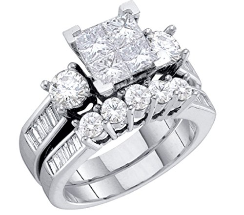 Midwest Jewellery Diamond Bridal Set 10K White Gold Engagement Ring/Wedding Ring Set Princess Cut White Gold 10k 2pc Set (1.00cttw, I2/i3, I/j)