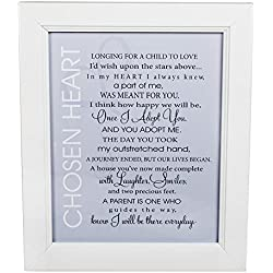 Grandparent Gift Adoption Chosen Heart Poem 8 x 10 White Framed Plaque