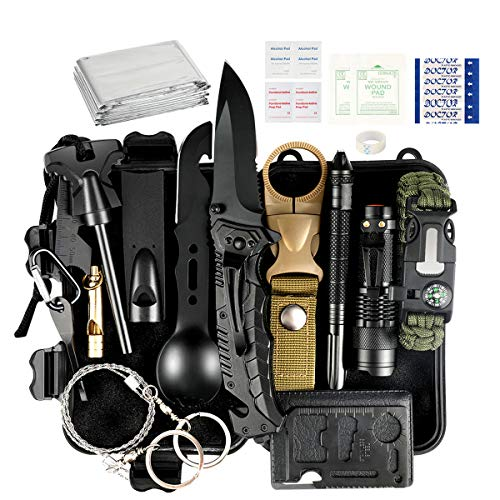 Puhibuox Gifts for Men Him, 35 PCS Survival Kit, Christmas Birthday Gifts for Men Dad Boyfirend, Outdoor Emergency Tactical Survival Gear for Cars, Camping, Hiking, Hunting, Adventure Accessories
