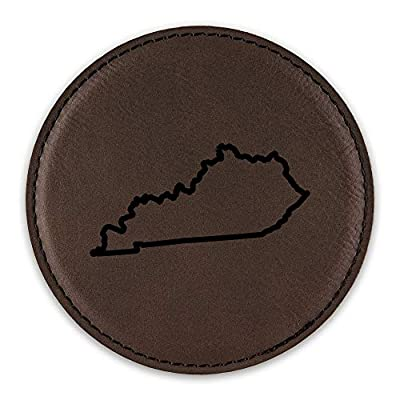 Kentucky Outline Drink Coaster Leatherette Round Coasters KY