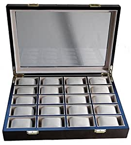 Vitrina para relojes caja madera pared 20relojes con cristal