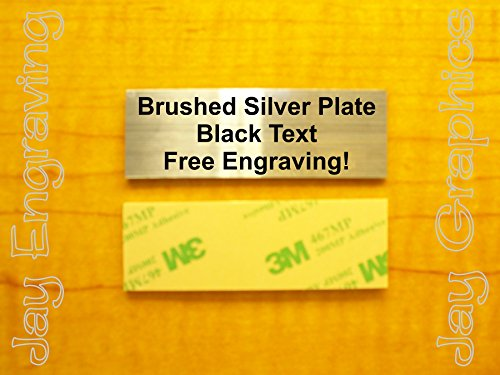Custom Engraved 1x3 Brushed Silver Plate | Name Tag Sign | Badge With Adhesive | Engraving Trophy Plaque Urn Keepsake Loving Personalized Scrapbook Organize Small Business Home Office Wall Door (Small Nameplate)