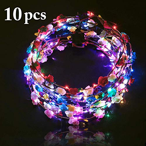 B bangcool LED Flower Crowns Headband, Light Up Flowers Wreath Hair Hoop Floral Headpiece Bulk Photograph Prop for Girls Women Wedding Graduation Festival Holiday Christmas Halloween Party(10PCS)]()