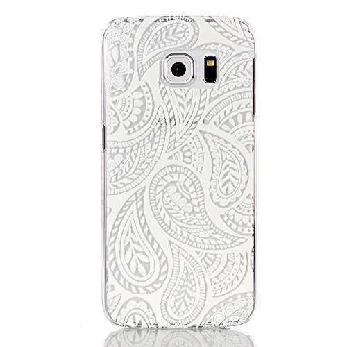 [GreenDimension Samsung Galaxy S6 Edge Slim Hybrid Shock Absorbing Transparent Flexible Rubber Bumper Scratch Resistant Hard Protective Clear Cover Case - White Relief Raindrops Painted Pattern] (Raindrop Pattern Protective Case)