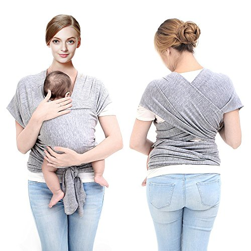 Cheap Miracle Baby Sling Carrier New Mom Baby Wraps 100% Cotton Elastic Nursing Baby Swaddle(Grey)