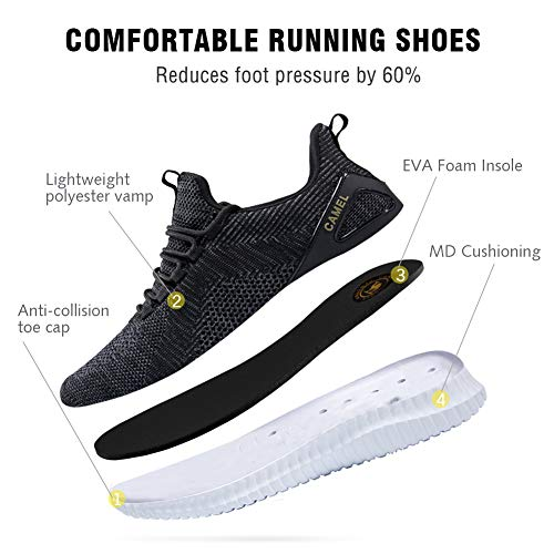 Pictures of Camel Men's Trail Running Shoes Lightweight Cushioning Breathable Athletic Sport Walking Sneakers for Gym Outdoor Black Size 10.0 5