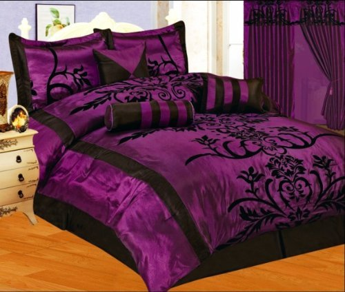 (7 Pieces Purple with Black Floral Flocking Comforter Set Bed-in-a-bag for King Size Bedding )