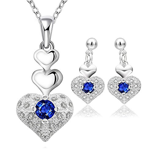 Yellow Chimes Rich Royal Heart Austrian Crystal Blue Silver Pendant Set for Women and Earrings