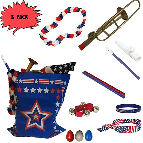- Labor Day Picnic / Parade Pack for Kids - Patriotic USA Music & Fun Pack Includes: 3 PACK of Patriotic Bag, Trombone Kazoo, Red White Blue Lei, Stars & Stripes Bandana, Flag Bracelet, Blue Magic Flute, Red Jingle Bell, White Kazoo, Red Blue & White Percussion Shakers, Red & Blue Fluted Rhythm Sticks- Perfect Labor Day Picnic Party Favor Bag