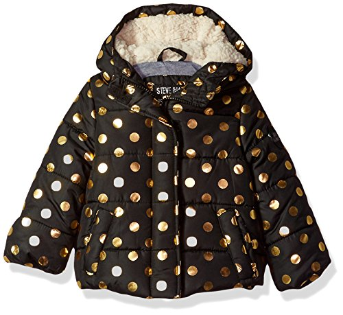 Steve Madden Baby Girls' Fashion Outerwear Jacket (More Styles Available), 8037-Black/Rose Gold,...