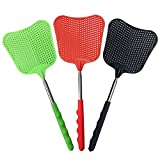foxany Extendable Fly Swatters, Durable Plastic Fly Swatter Heavy Duty Set, Telescopic Flyswatter with Stainless Steel Handle for Indoor/Outdoor/Classroom/Office (3 Pack): more info