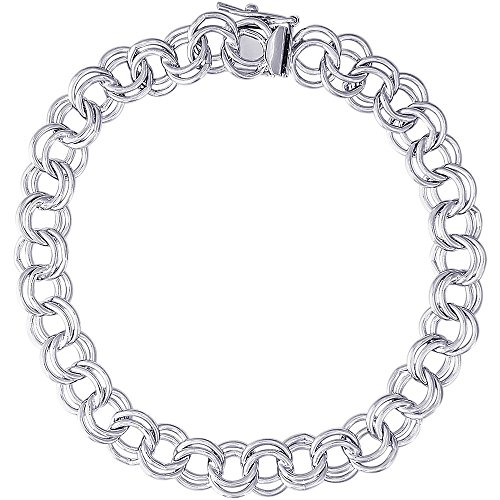 7 Inch Charm Link Bracelet (Rembrandt Charms, Handmade Double Link Charm Bracelet, .925 Sterling Silver,)