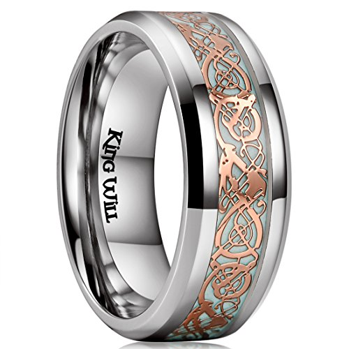 King Will Dragon 8mm Rose Gold Celtic Dragon Luminou Glow Titanium Wedding Ring for Men Women 7.5 (Dragon Rose)