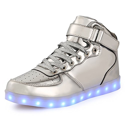 URUOI [New Logo] 11 Lighting Effects High-Top Light Up Shoes LED Sneakers for Women Men Girls Boys Christmas Halloween Birthday Part Silver (Light Up Shoes For Adults)