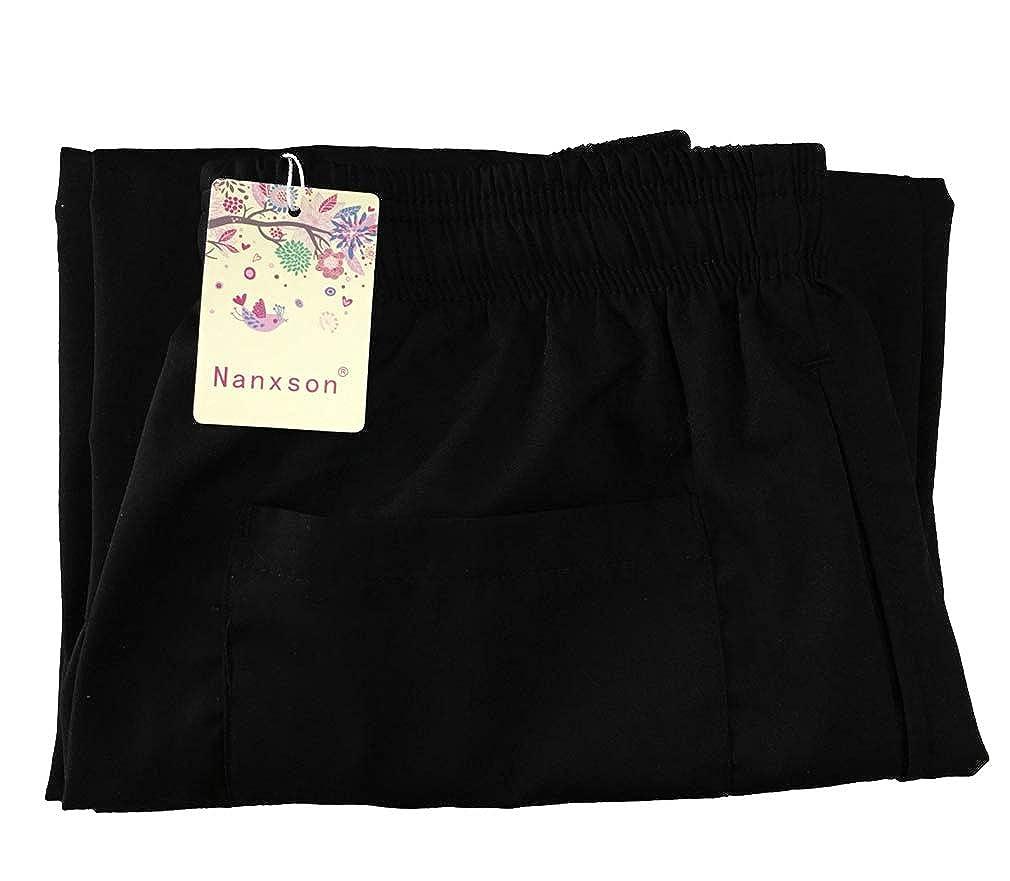 Nanxson Unisex Cotton Chef Pantaloni Elastico in Vita Uniforme da Cuoco Chef Pantaloni da Lavoro in Nero CFM2004
