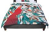 KESS InHouse Danny Ivan ''Soccer Headshot'' Teal Red Queen Comforter, 88'' X 88''