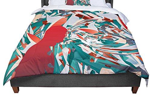 KESS InHouse Danny Ivan ''Soccer Headshot'' Teal Red Queen Comforter, 88'' X 88'' by Kess InHouse