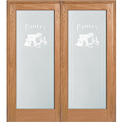 National Door Company Z020014R Unfinished Red Oak Wood 1 Lite Frosted Glass with Pantry Design, Right Hand Prehung Interior Double Door, 60