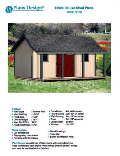 16' x 20' Guest House / Garden Storage Shed with Porch Plans - Design #P81620