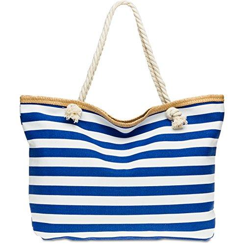Ts1025 Caspar Xl Big Hand Bag Womens / Shoulder Bag Blue Striped Beach