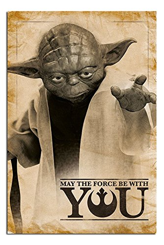 Star Wars Yoda May The Force Be With You Poster Gloss Laminated - 91.5 x 61cms (36 x 24 Inches)