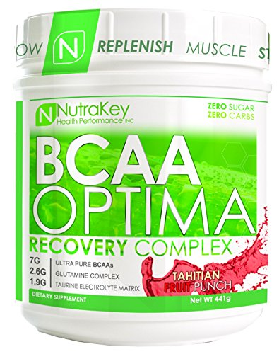 NutraKey BCAA Optima Post Workout Product, Tahitian Fruit Punch, 15.55-Ounce