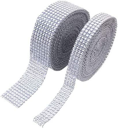 1 Roll 8 Row 10 Yard +1 Roll 4 Row 10 Yard Acrylic Rhinestone Diamond Ribbon for Wedding Cakes, Birthday Decorations, Baby Shower Events,Party Supplies, Arts and Crafts (8Row Silver+4Row Silver)