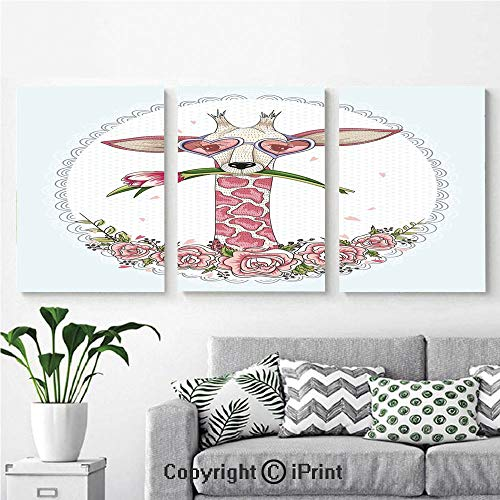 3PCS Triple Decoration Painting Wall Mural Cute Hipster Giraffe with Tulip and Heart Shaped Glasses Vintage Frame Living Room Dining Room Studying Aisle Painting,16