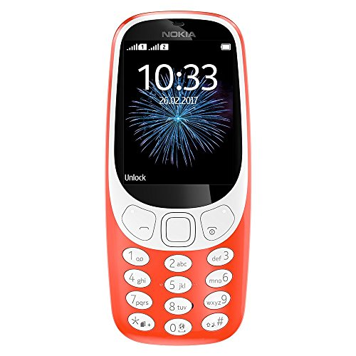 Nokia 3310 3G Unlocked Feature Phone (AT&T/T-Mobile) - 2.4in Screen - Warm Red -