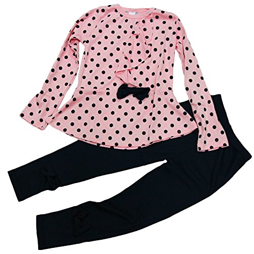 ASHERANGEL Baby Girl Cute 2pcs Set Children Clothes Suit Top and Pants (Age(6T), Pink Dot)