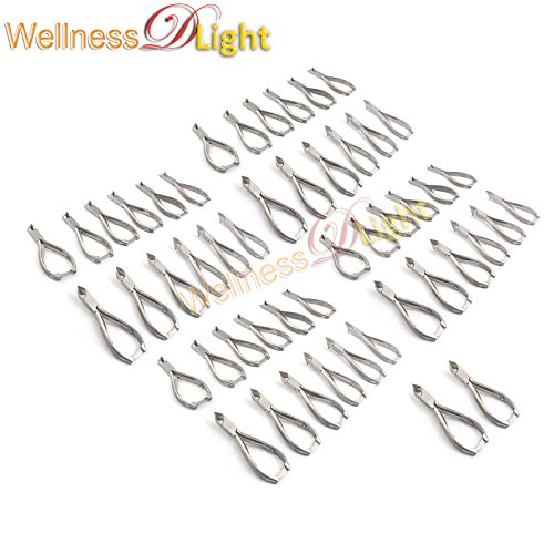 WDL SET OF 50 PROFESSIONAL MOON SHAPE TOENAIL CLIPPER CUTTER CHIROPODY PODIATRY INSTRUMENTS by WellnessD'Light®