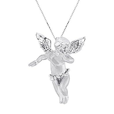 Amazon diamond angel pendant necklace 14k white gold jewelry diamond angel pendant necklace 14k white gold aloadofball Image collections