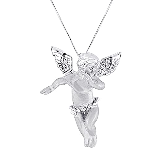 Amazon diamond angel pendant necklace 14k white gold jewelry diamond angel pendant necklace 14k white gold aloadofball Image collections
